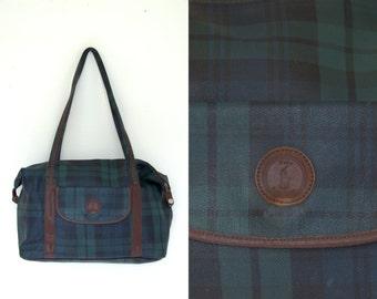 Vintage Ralph Lauren Plaid Monogram Leather Large Shoulder Bag Tote Purse