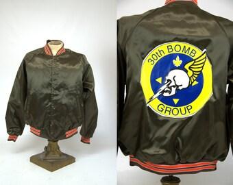 SALE 80s Military Skull Image 30th Bomb Group Skull Satin Jacket