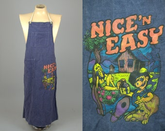70s Denim Hippie Had Painted 'Nice N Easy' Shop Apron Work Wear Garment