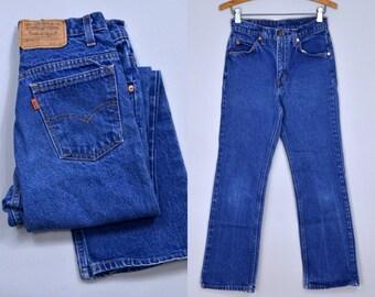 Vintage Levis 517 Perfectly Worn Orange Tag Denim Blue Jeans 26 x 29