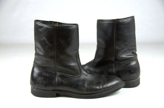 70s biker boots black leather pull on motorcycle boots mens 11