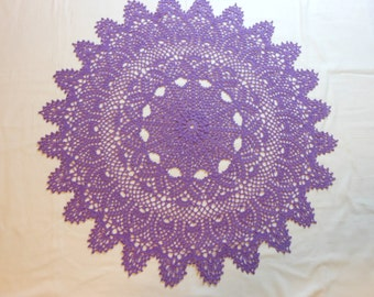 24 inch purple/violet  crochet tabletopper pineappled doily