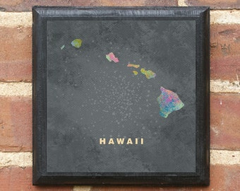 Hawaii HI Splatter Watercolor Paint Effect Wall Art Sign Plaque Gift Present Personalized Color Custom Home Decor Vintage Style Hilo Classic