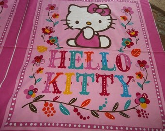 Liscened  Quilt Top HELLO KITTY Fall Flower..ready to Quilt...Free Shipping