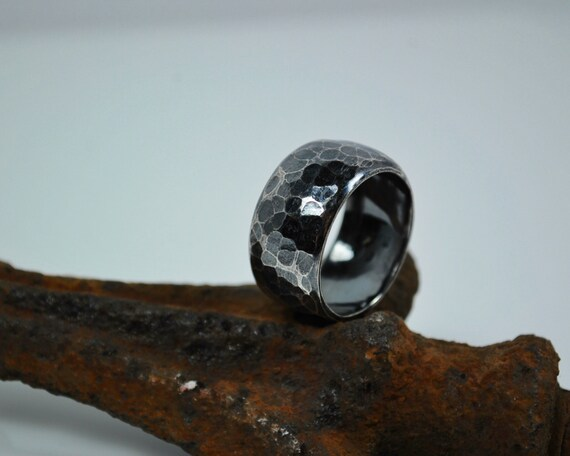 Mens Wedding Band - Men's Wide Silver Ring – Handcrafted Wedding Band – Sterling Silver - Mens Rings