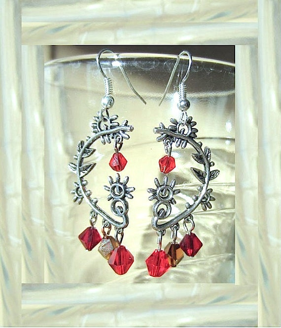 Silver Plated Abstract Pierced Earrings with Shades of Red Crystals Handmade Original Fashion Jewelry Unique Style Statement Piece Gift Idea