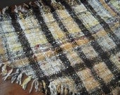 Earthy shades, pure wool wrap - handspun handwoven shawl made with natural plant dyed colours - white yellow orange brown grey black