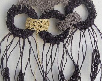 Wearable art necklace statement/tassel necklace crochet,art to wear jewellery