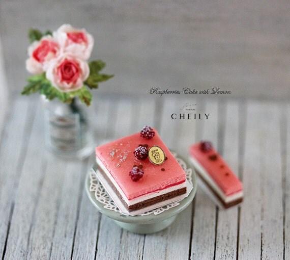 Dollhouse Design Cake : Dollhouse miniature cake SET Raspberries cake with lemon