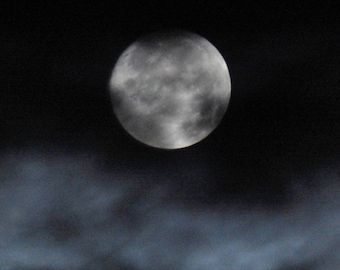 Midnight Whispers, silver full moon with blue clouds, black night sky, cloudy moon photo, night-time clouds & moon