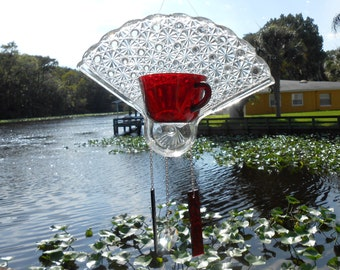Ruby Red Depression Glass, Teacup Windchime, Antique Suncatcher w/ Stained Glass Wind Chimes and Crystal Heart, Original Glass Garden Decor