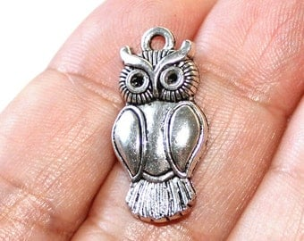 4 Owl Charms Antique Silver Tone - CH644