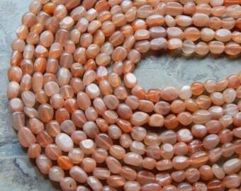 6X9mm Natural Orange-Peach Moonstone Semi-Precious Gemstone Pebble -Nugget Beads, 16 Inch Strand (IND2C941)