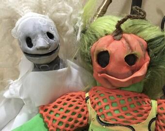 OOAK Creepy Halloween Ghost and Pumpkin Dolls / Spooky Dolls