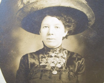 Early 1900's Victorian RPPC - Elegant Lady Wearing Large Hat