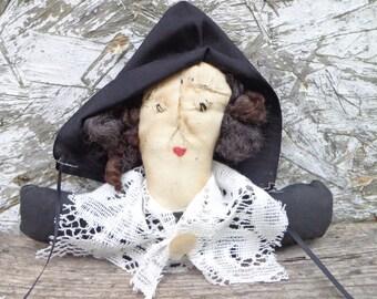 Primitive Thanksgiving Halloween Fall Pilgrim Doll Shelf Sitter