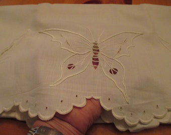 Stunning Madeira Hand Embroidered Pillowcase Set Butterfly Scalloped with Cutwork and Openwork