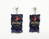 Mini Doritos Cool Ranch Chip Bag Dangle Earrings