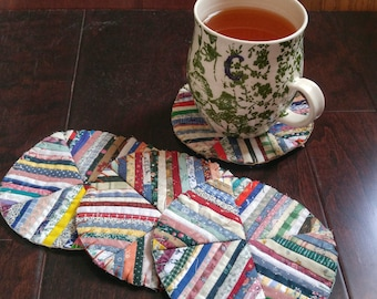 Upcycled Quilted Set of 4 Coasters