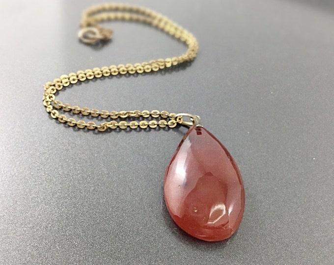 Antique Scottish Agate Necklace. Victorian Carnelian Pendant. Victorian 14K Gold Filled Chain, Carnelian Stone Necklace Antique Agate.