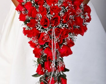 SERAPHINA RED Wedding Bouquet Package Bridal Bridesmaid Groom Boutonnieres Corsages Keepsake Bouquets Roses Silk Floral Custom Flowers
