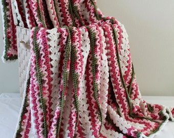 Afghan - Handmade Crochet Queen Size Blanket - Pink Camo with White Centers
