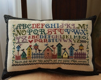 Sampler Birds Birdhouses Cross Stitch Accent Pillow