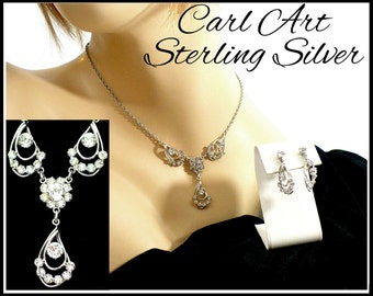 Sterling Silver & Clear Rhinestone Necklace Earrings Set, Bridal Jewelry Set, Daytime Bling, Pageant Jewelry, Gift For Her