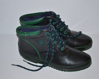 Vintage 80s  Sporto duck waterproof blue  green rain rubber shoes Thermolite rubber boots size 8 comfortable women  Spring  shoes