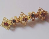 Gold Metal Filigree Flower Swarovski Crystal French Barrette, for weddings, parties, evening, cocktail, special occasions