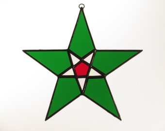 Stained Glass Green and Red Star Suncatcher - Price Includes Shipping