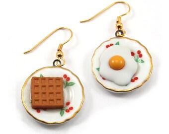 Breakfast Earrings, Eggs and Waffle Earrings, Tea Set Plates, Teapot Jewelry