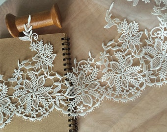 2 yards Ivory Venice Lace Trim, Bridal Wedding Veil Lace , Crocheted Jewelry Lace Trim