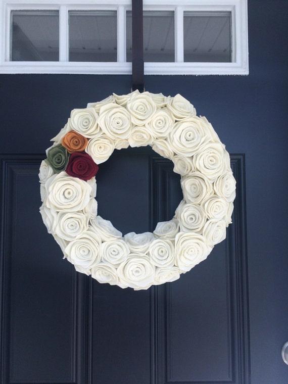 Handmade Felt Rosette Wreath. Felt Wreath.Door Hanging. Wall Hanging.Christmas Wreath. Fall Wreath.Fall Decor