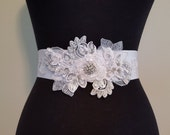 Luxury Bridal Sash, White and Silver Elegance, Rhinestone Bridal Sash, Winter Wedding, Winter Bride