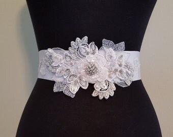 White and Silver Bridal Sash Elegance, Rhinestone Bridal Sash, Winter Wedding, Winter Bride