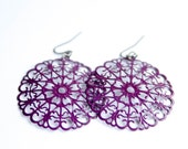 Purple Metal Round Filigree Dangles