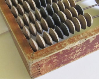 Small Vintage  all wood Abacus, 1960s, school abacus,  wood patina, Home decor, wooden abacus
