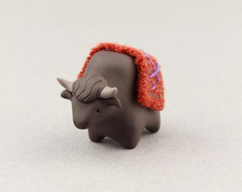 yak miniature totem polymer clay yak figurine animal sculpture cute gift