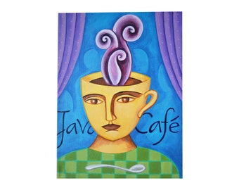 JAVA CAFE, coffee cup head, coffee decor, coffee art, kitchen art, original 12x18 canvas painting by Elizabeth Rosen