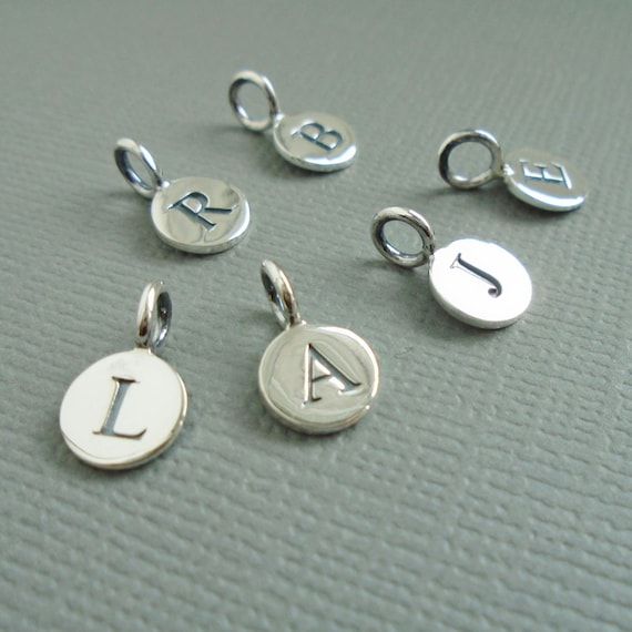 Sterling silver letter initial charms letter jewelry for Circle letter beads