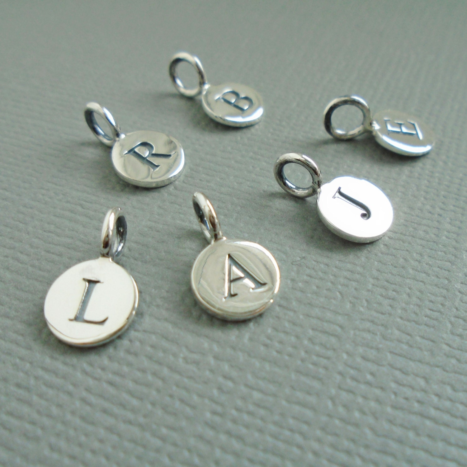 Initial Charms For Bracelets: Sterling Silver Letter Initial Charms Letter Jewelry