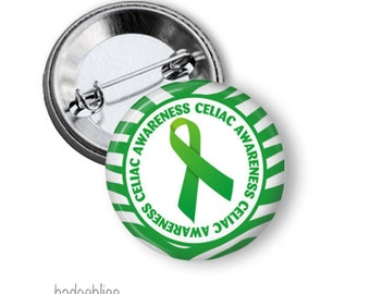 Celiac pinback button badge or magnet - Gluten free awareness