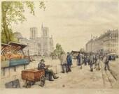 Vintage Color Etching - Paris Booksellers  Tavik Frantisek (T F) Simon - Quai des Grands Augustins, 1925 - Home Decor Wall Art - Color Print