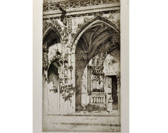 Saint Germain l'Auxerrois, Paris - 1930s Etching by A. Hugh Fisher - Black / White Vintage Original Print - Art, Home Decor, Architectural