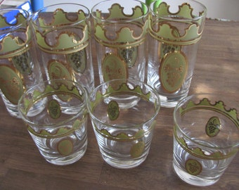 7 Vintage Mid Century FRED PRESS Grape Drinking Glasses Excellent Condition