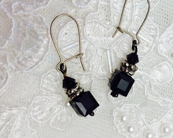 Onyx Earrings, Silver Wire & Spacers, Vintage Design, Carved  Stone, ESTATE SALE, Item No. S261