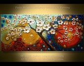 """Painting 48"""" Kissed by the Sun for Love - Peaceful Painting Oil Palette Knife texture Modern style, luxury looks, thick layers,Paula Nizamas"""