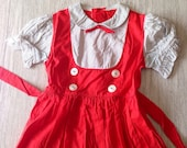 Vintage girls cotton spring dress with tie, buttons, red and white with pin stripes