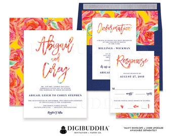 WEDDING INVITATIONS Wedding Invitation Set 3 Piece Wedding Suite Wedding Invites Bright Bold Floral Printed or Printable Wedding - Abigail
